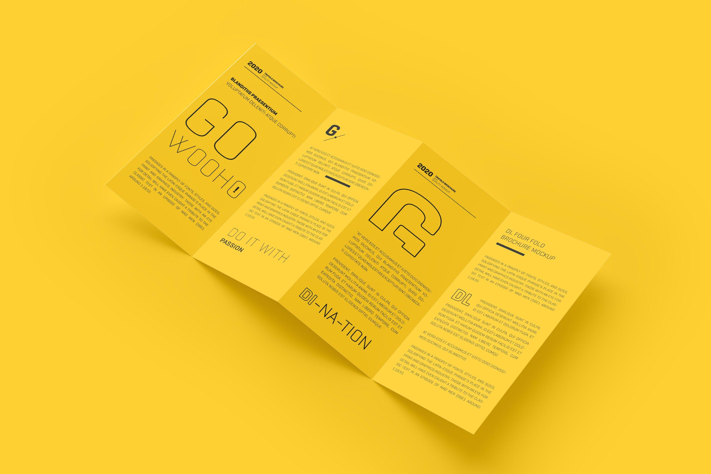 8款四折页小册子设计展示样机模板 DL 4 Fold Brochure Mockup插图(3)