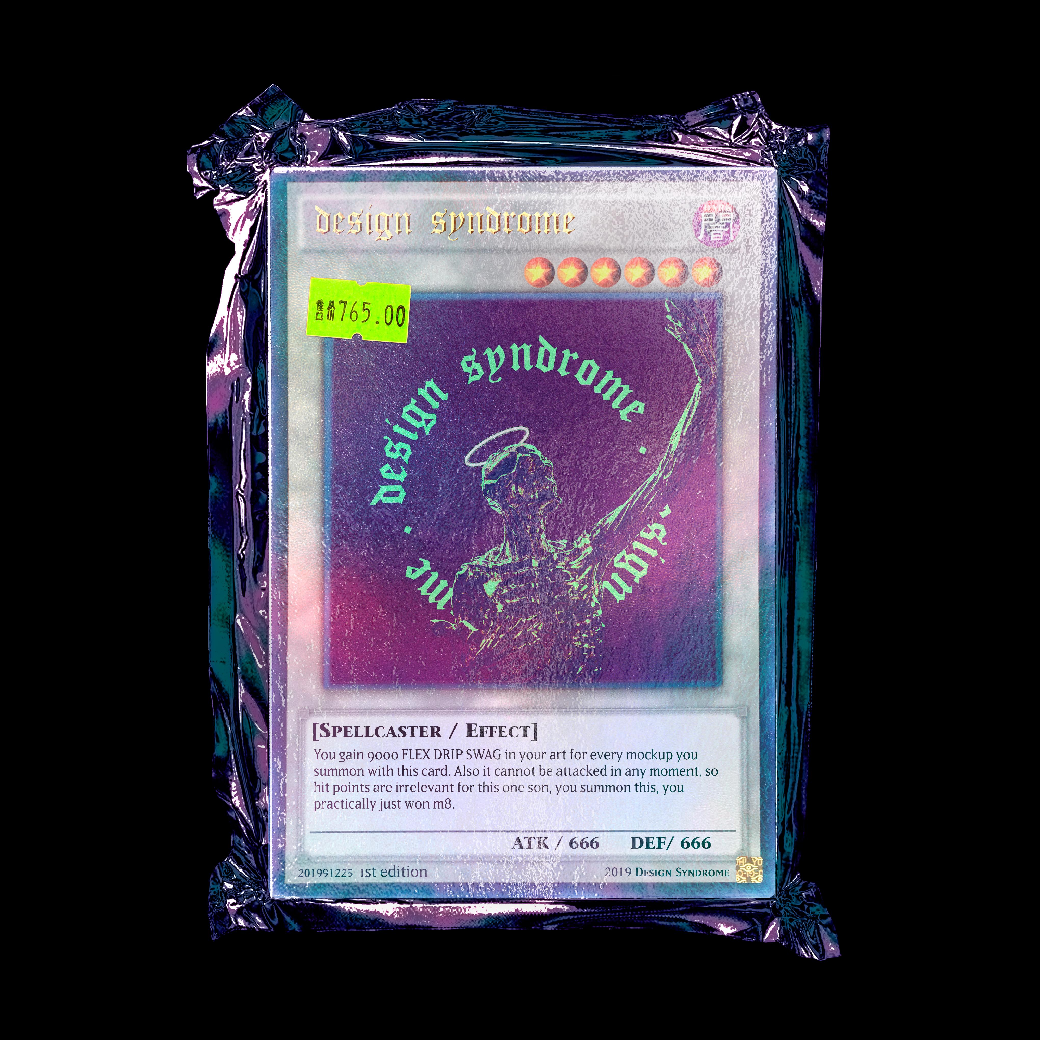 塑料真空塑封卡片包装袋设计贴图PSD样机模板 Yu-Gi Card Mockup插图(1)