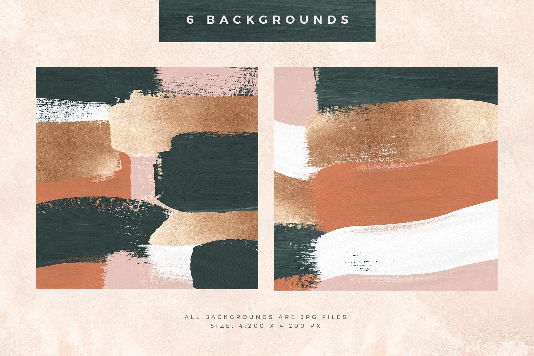 [淘宝购买] 时尚优雅抽象多彩丙烯酸颜料笔刷肌理背景PNG图片素材 Painterly Shapes & Backgrounds插图(3)