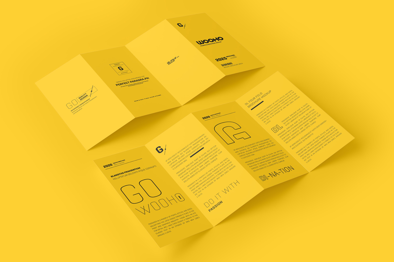 8款四折页小册子设计展示样机模板 DL 4 Fold Brochure Mockup插图(4)