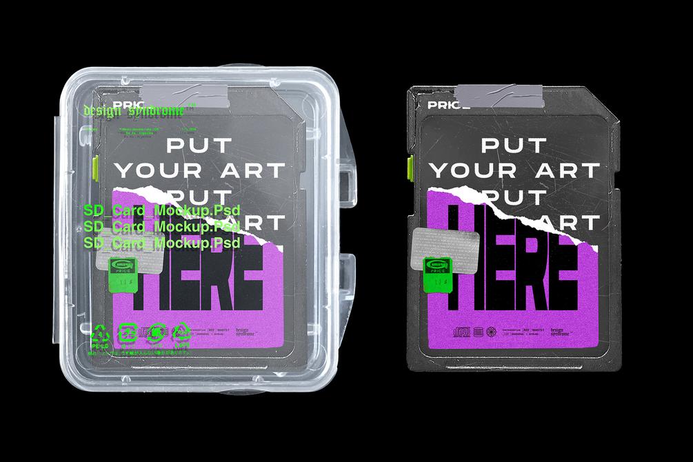[淘宝购买] 潮流闪存卡包装盒设计PSD样机模板 SD Card Mockup插图(4)