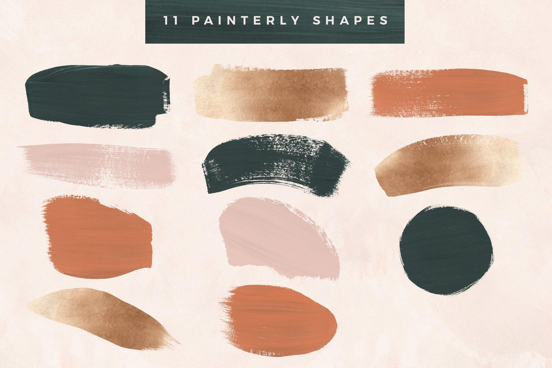 [淘宝购买] 时尚优雅抽象多彩丙烯酸颜料笔刷肌理背景PNG图片素材 Painterly Shapes & Backgrounds插图(5)