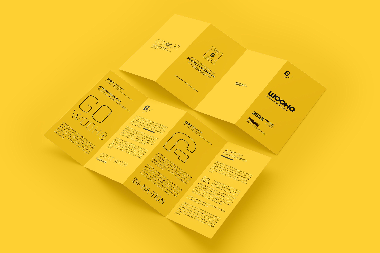 8款四折页小册子设计展示样机模板 DL 4 Fold Brochure Mockup插图(6)