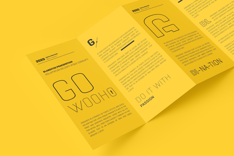 8款四折页小册子设计展示样机模板 DL 4 Fold Brochure Mockup插图(7)