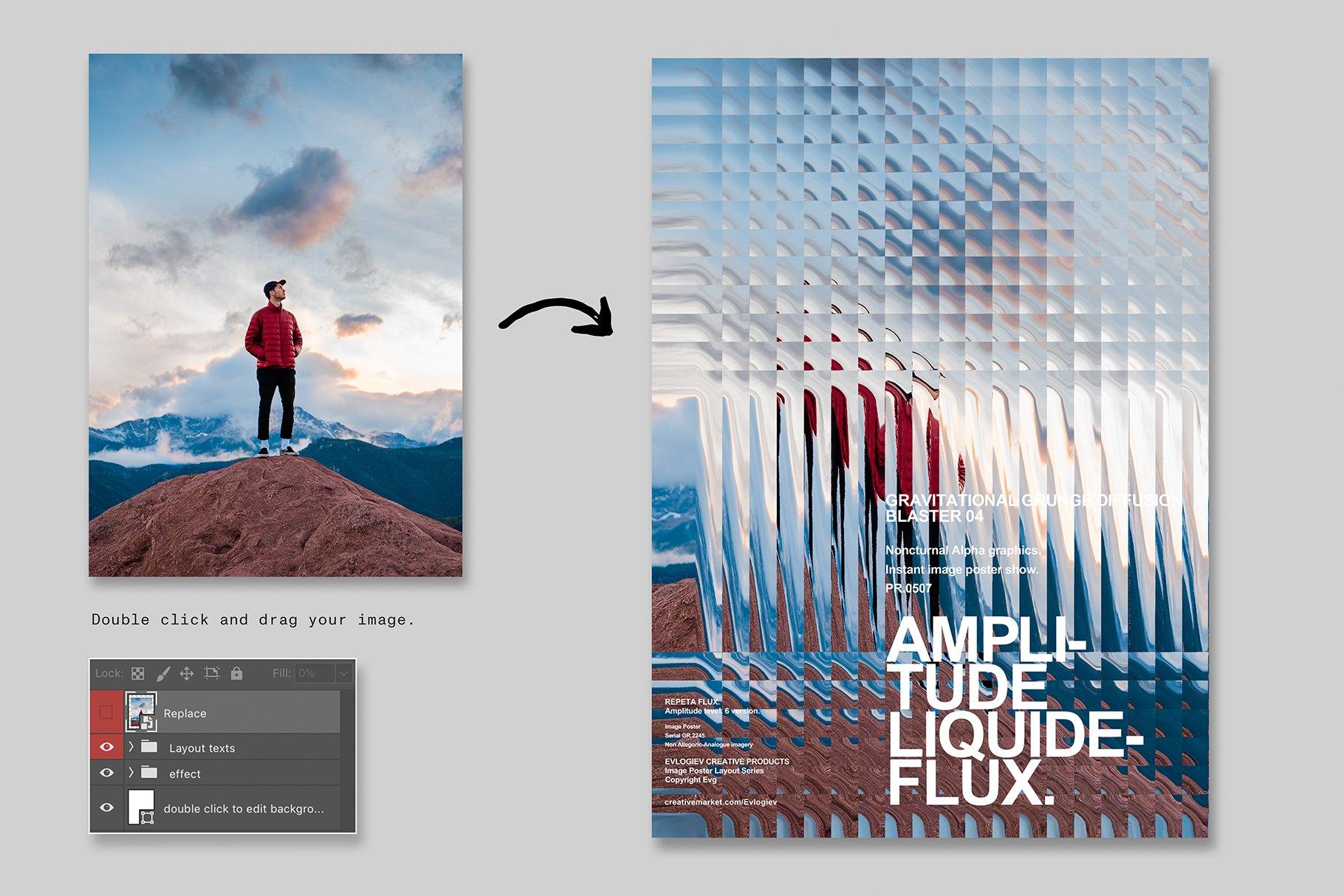 [淘宝购买] 20款抽象扭曲故障主视觉海报图片设计效果PS样式模板 Evlogiev – Distort Image Poster插图(7)