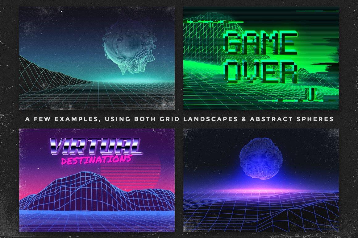 40款80年代复古未来美学矢量网格纹理山水插图设计素材 Retro Inspired Grid Landscapes插图(7)