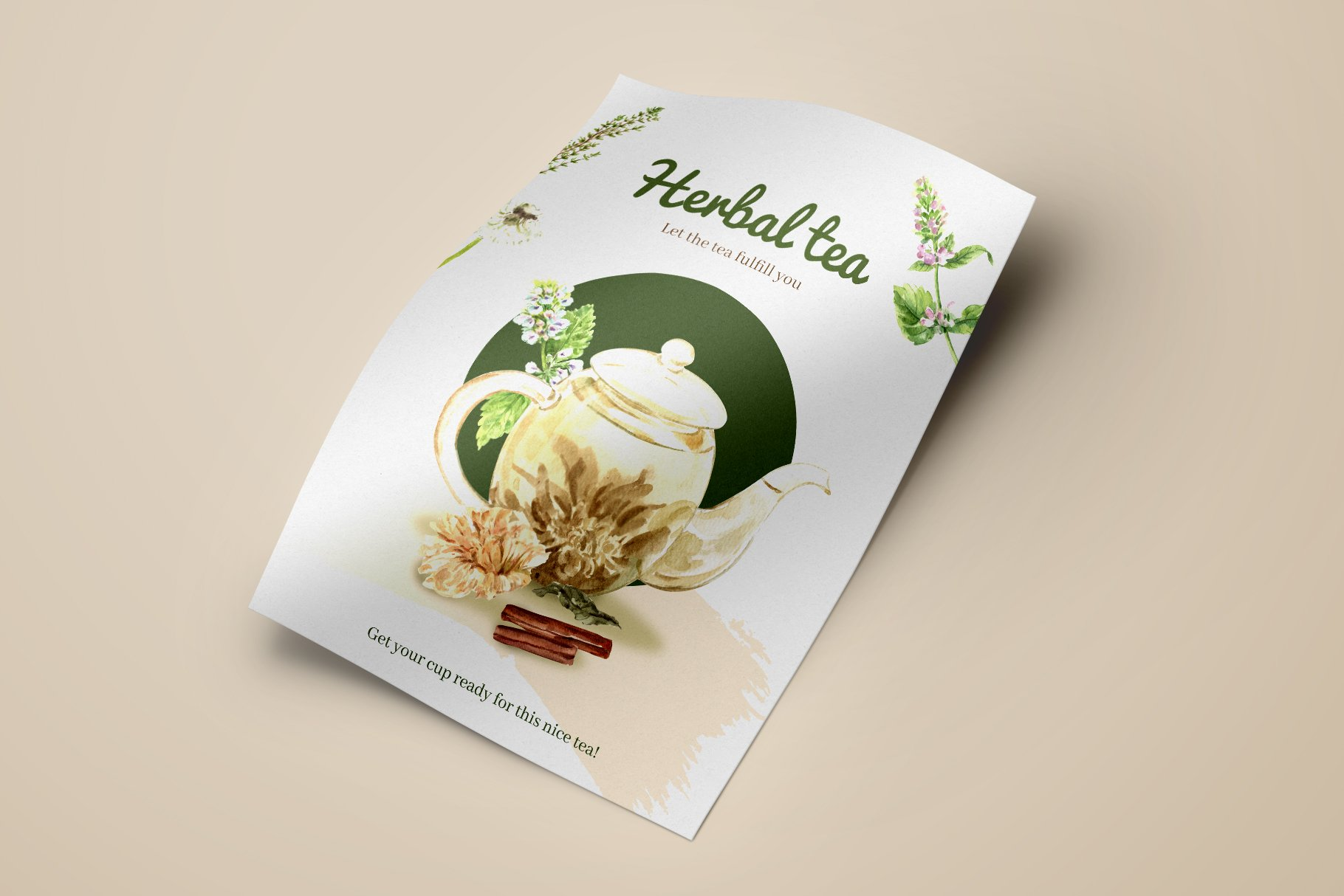 茶叶健康养生元素水彩画PNG免抠图片素材套装 Tea Time With Herbal Tea For Health插图(5)