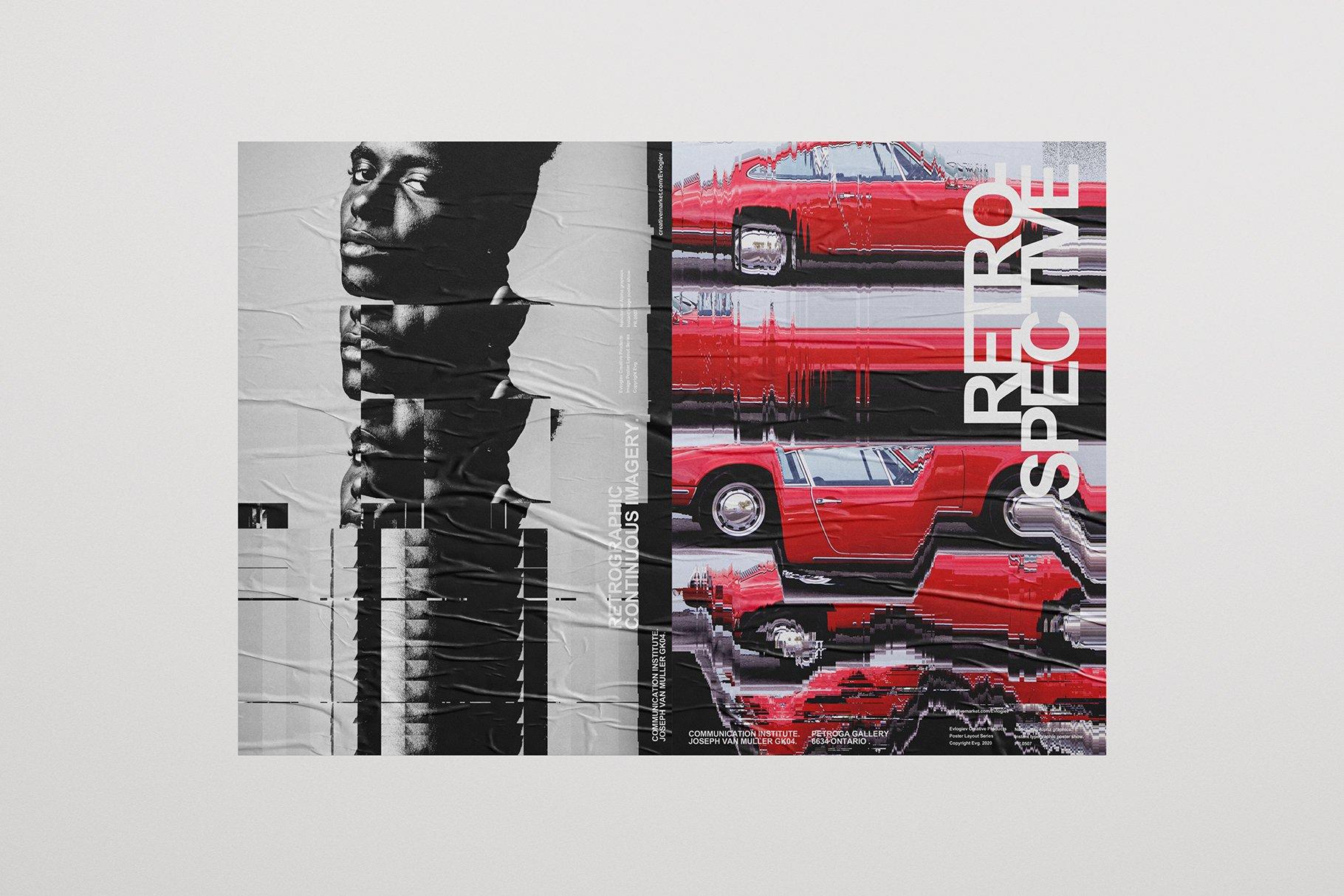 [淘宝购买] 20款抽象扭曲故障主视觉海报图片设计效果PS样式模板 Evlogiev – Distort Image Poster插图(8)
