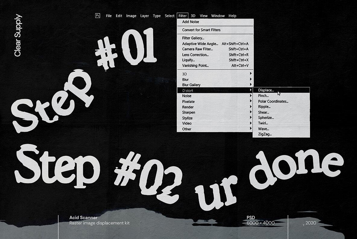 [淘宝购买] 60款高清扭曲故障位移海报设计效果样机PSD模版设计素材 Clear Supply – Acid Scanner插图(8)