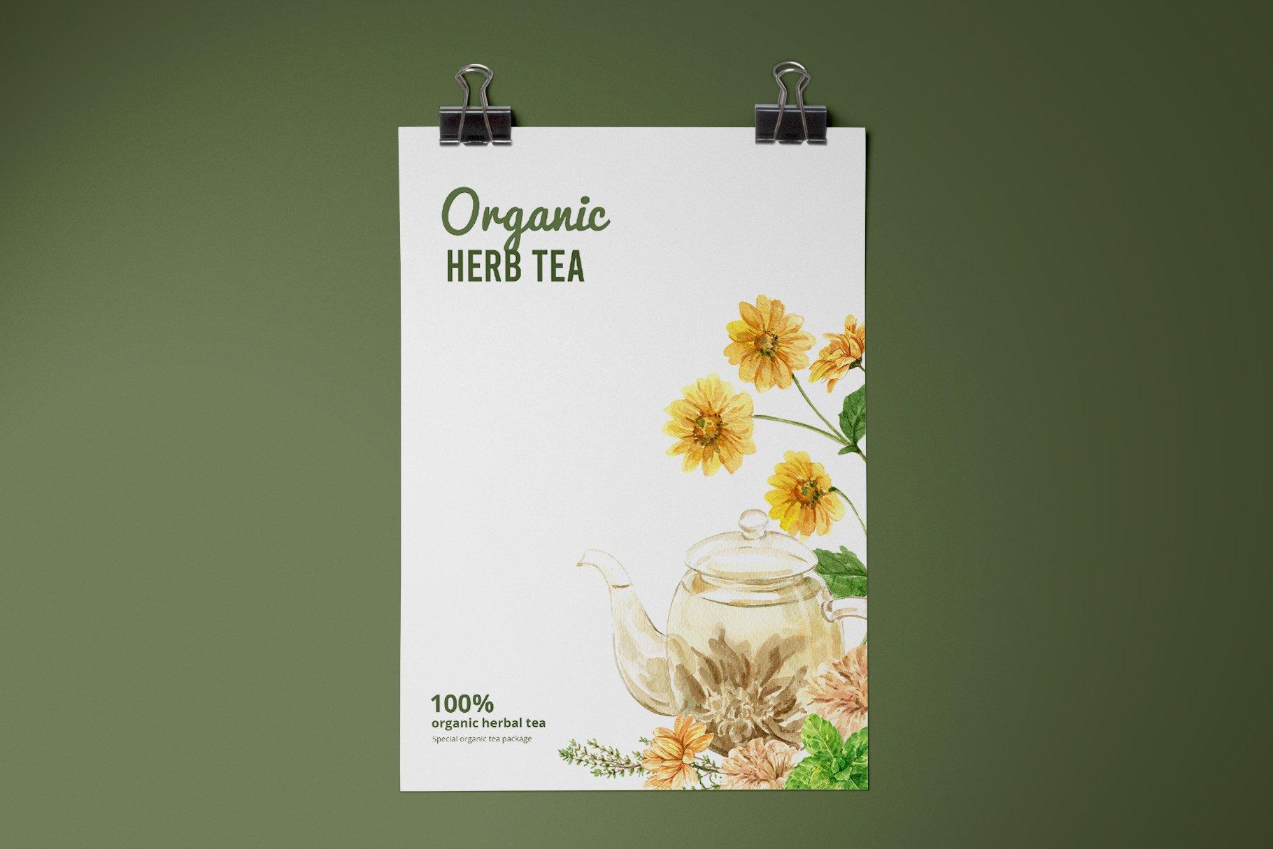 茶叶健康养生元素水彩画PNG免抠图片素材套装 Tea Time With Herbal Tea For Health插图(6)