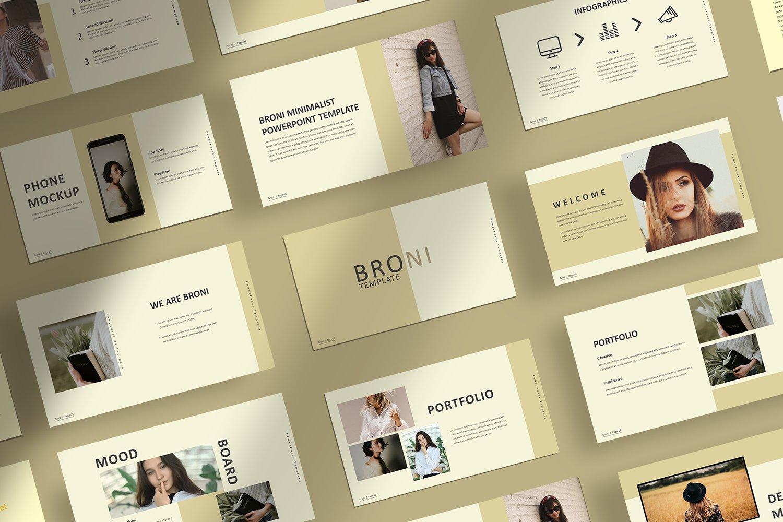 简洁服装摄影作品集图文排版设计PPT幻灯片模板 Broni – Minimalist Presentation插图
