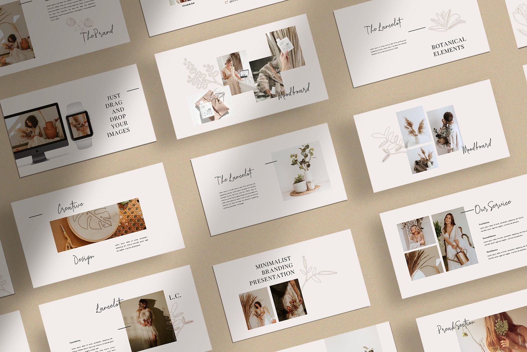 时尚简约女性服装摄影作品集PPT幻灯片模板 Lancelot Presentation Template插图