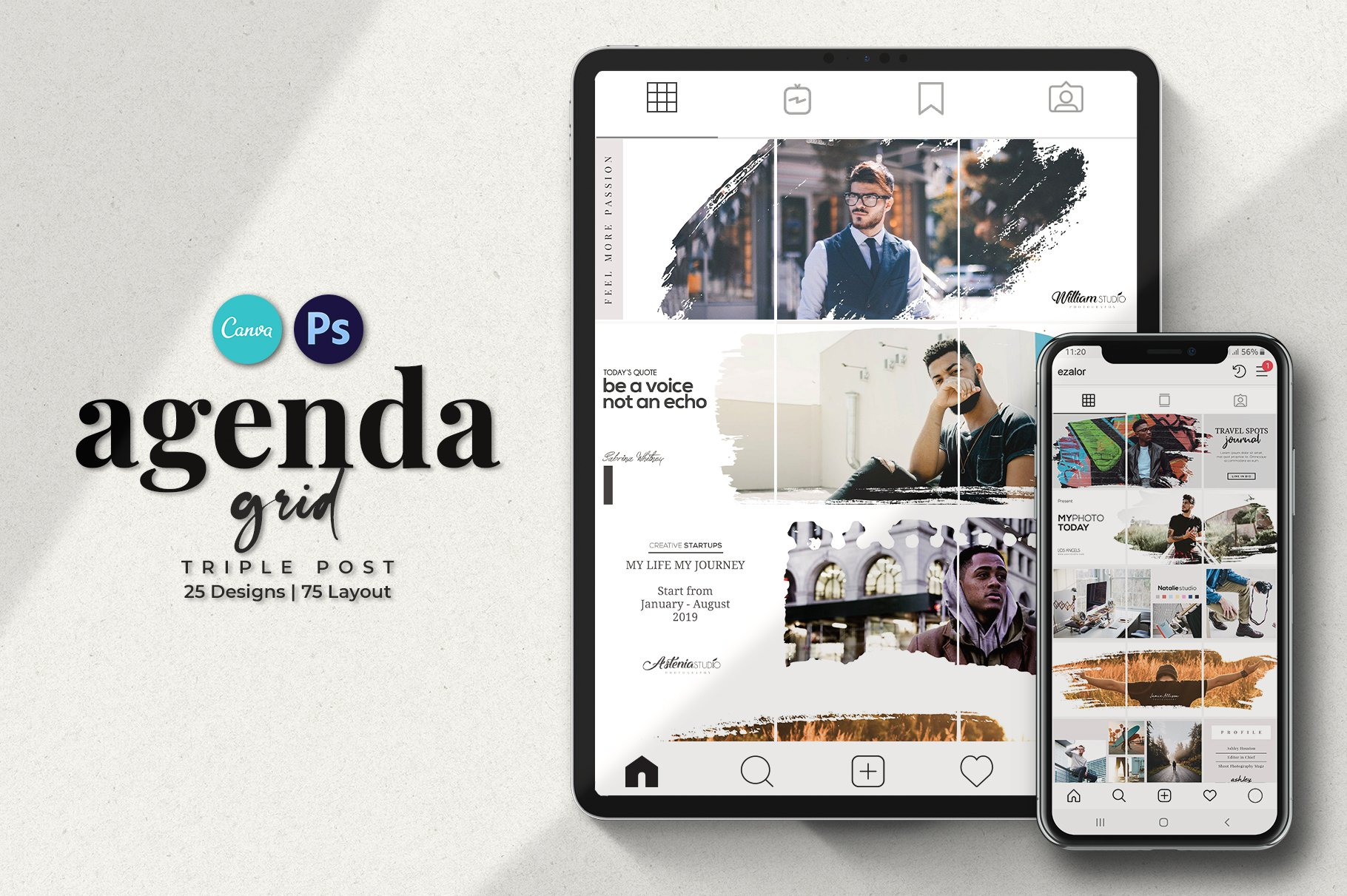 毛笔笔刷效果新媒体电商海报设计PSD模板 Agenda Insta Grid (Triple Posts)插图