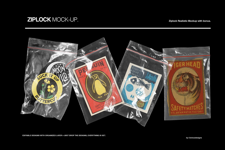 4款塑料自封包装袋设计贴图样机PSD模板 Zip Lock Mockups插图