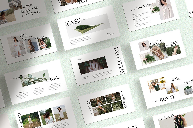 极简创意摄影作品集PPT幻灯片设计模板 Zask – Clean Presentation Template插图