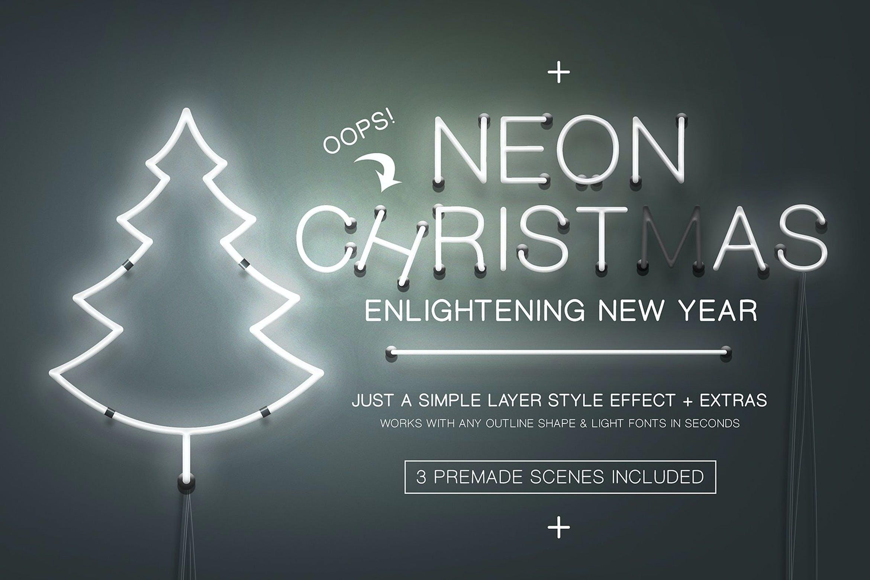 圣诞节主题霓虹灯效果图形文字设计PS样式模板 Neon Christmas Layer Style插图