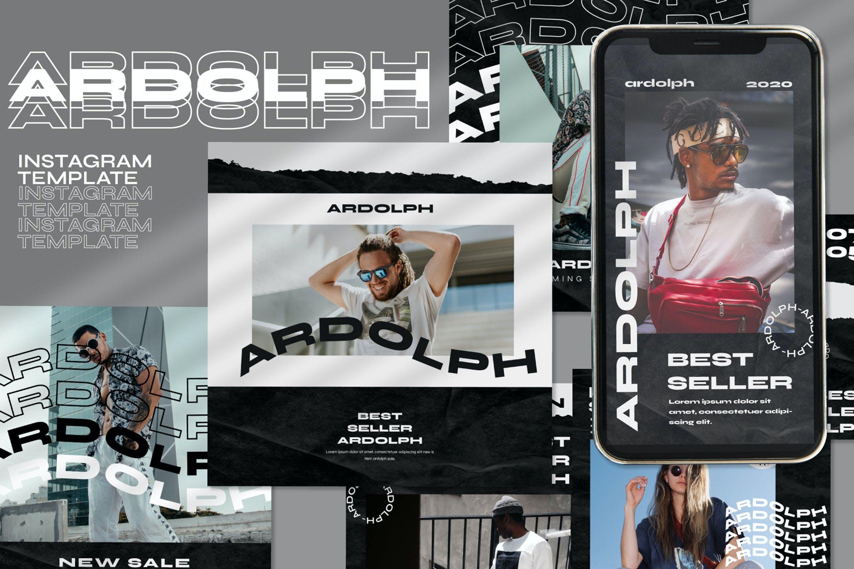 时尚撕纸效果街头潮牌品牌推广新媒体海报设计PSD模板 Ardolph – Instagram Post and Stories插图