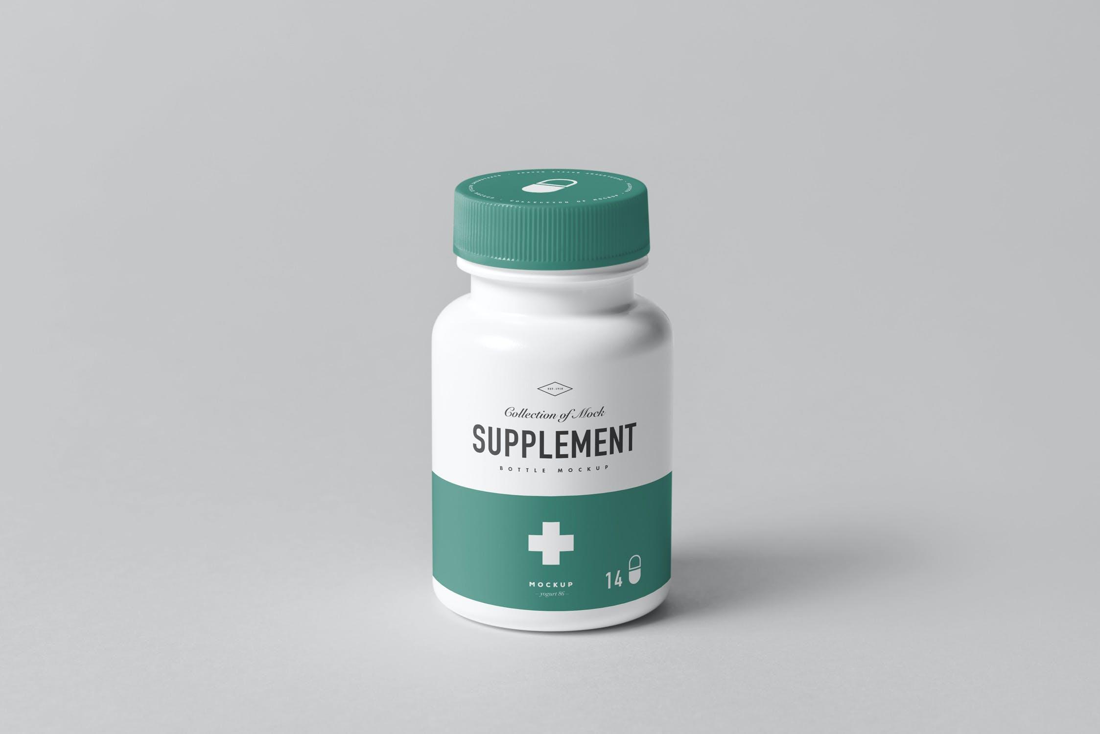 8款药物补充瓶塑料瓶包装盒设计展示样机模板 Supplement Bottle Mockup插图