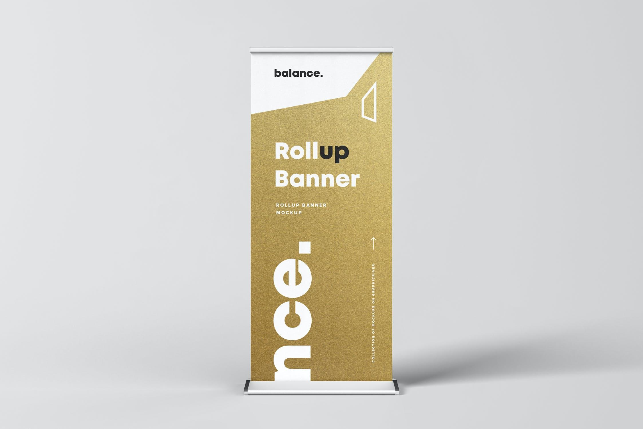 7款自立式易拉宝展架横幅海报设计展示样机模板 Roll Up Banner Mockup插图