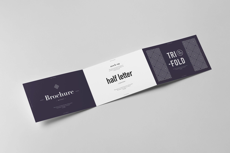 9款横版三折页小册子设计展示样机模板 Tri-Fold Half Letter Horizontal Brochure Mockup插图