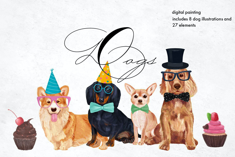 高清手绘狗狗元素水彩画PNG免抠图片素材 Dog Breeds Illustrations插图