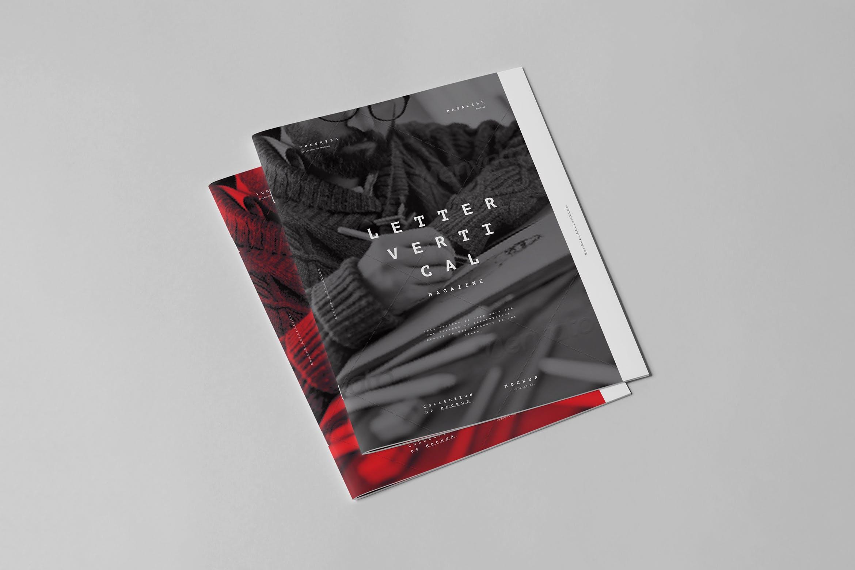 10款骑马钉宣传画册杂志设计展示样机模板 US Letter Brochure Mockup 3插图