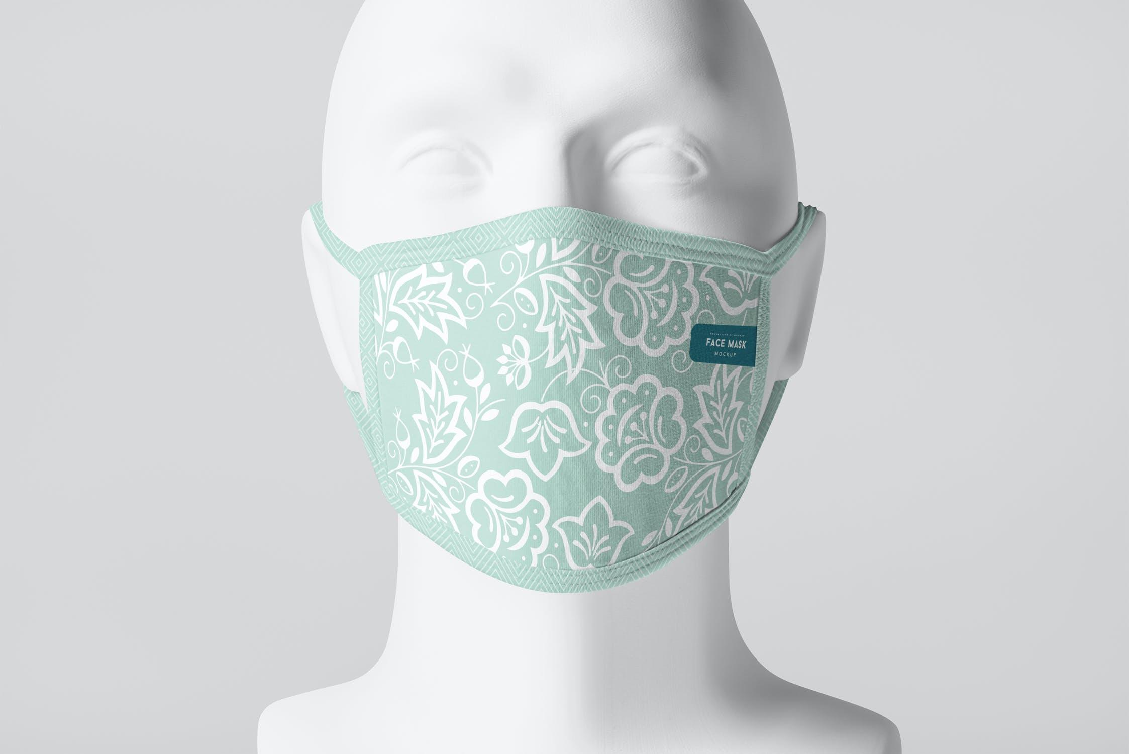 8款防护面罩口罩印花设计展示样机PSD模板 Face Mask Mockup插图
