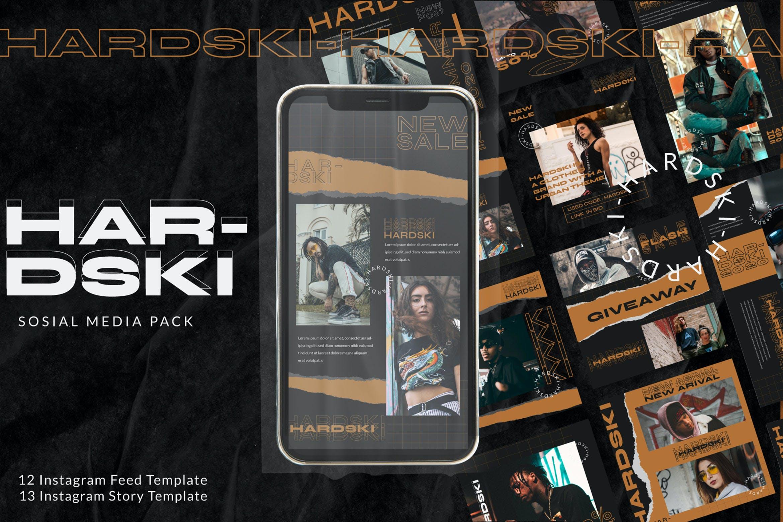 潮流街头潮牌服装推广新媒体电商海报设计PSD模板 Hardski – Instagram Post And Stories插图