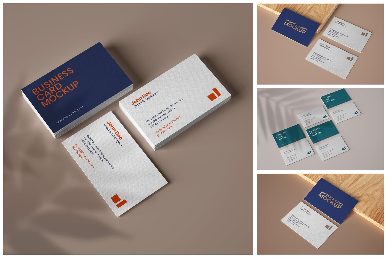6款商务名片卡片设计展示样机 Elegant Business Card Mockup Set插图