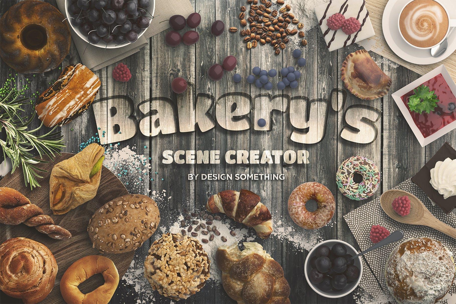顶视图烘培面包店场景文字设计样机素材 Bakery Scene Creator Top View插图