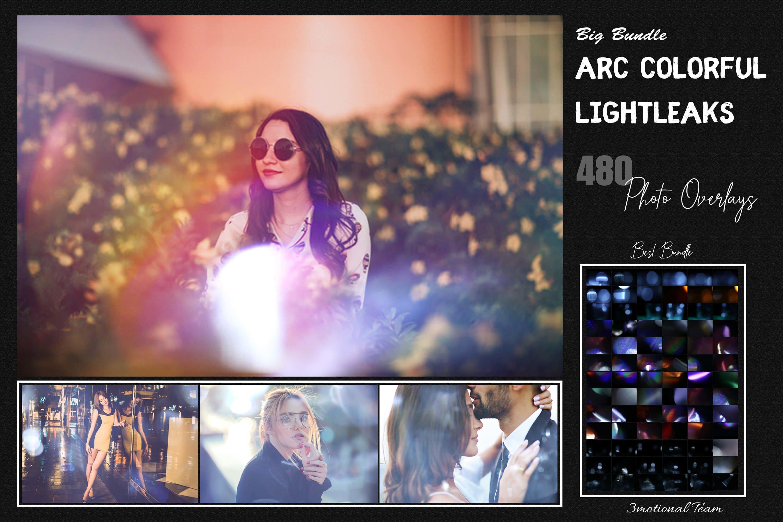 480款高清七彩漏光PS叠加图片素材 480 Arc Colorful Lightleak Bundle插图
