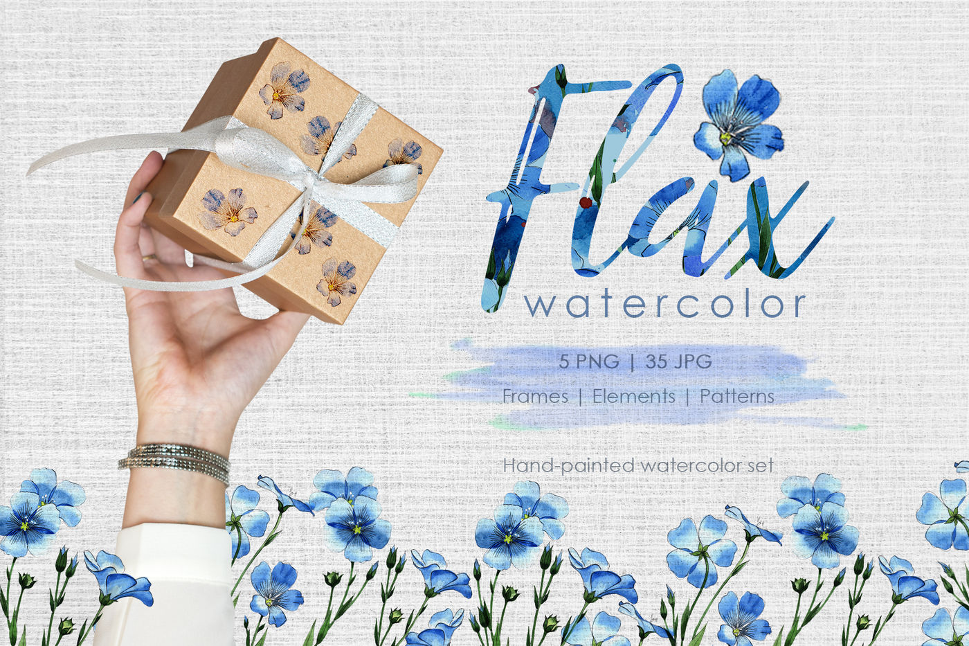 高清亚麻蓝色花卉水彩剪贴画PNG透明图片水彩 Flax Blue Watercolor PNG插图