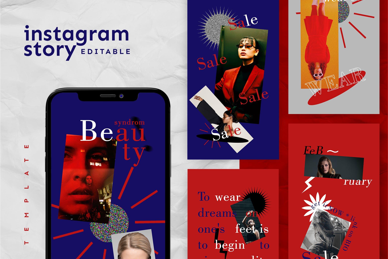 现代时尚女装电商海报新媒体推广PSD模板 Instagram Story Template插图