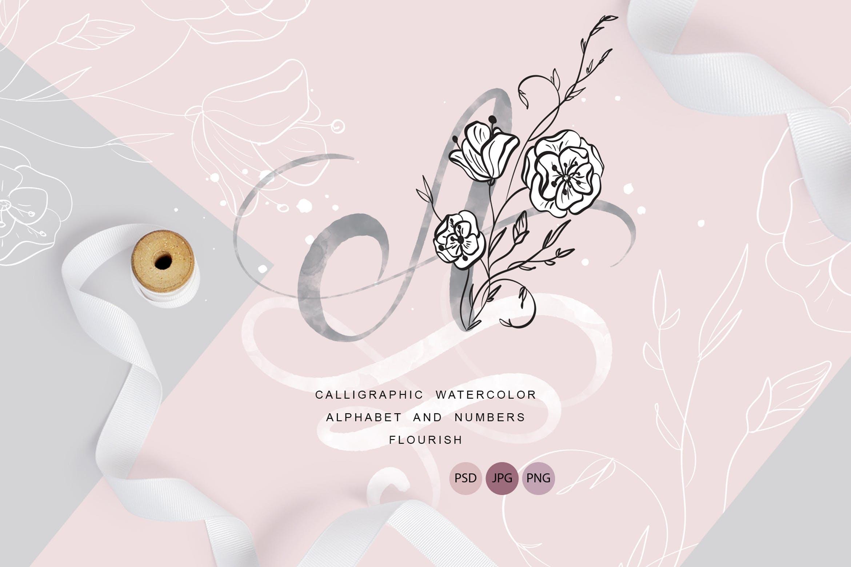 花卉字母水彩字母表装饰图案图片素材 Flowers Letters Watercolor Alphabet插图