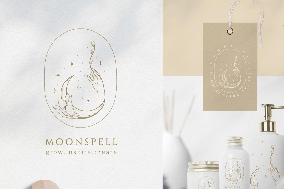 月亮主题品牌标志设计&矢量插画背景包装设计素材 Premade Moon Brand Logo and Packaging Design插图
