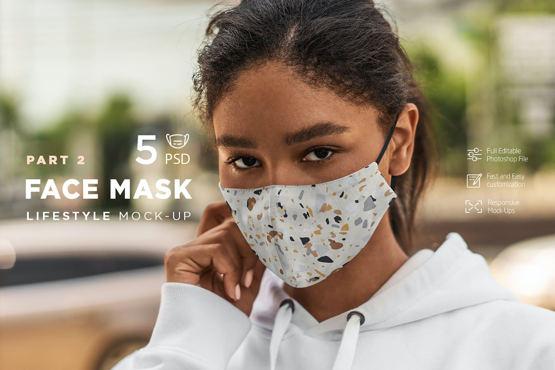 5款防护面罩口罩印花设计展示样机模板 Face Mask Mockup Lifestyle Vol.2插图