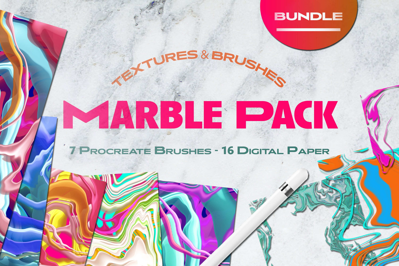 大理石纹理Procreate笔刷 Liquid Marble Texture Brush Bundle Noise插图