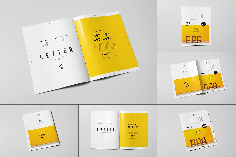 8款逼真骑马钉杂志画册设计展示样机模板 US Letter Brochure Mockup 2插图
