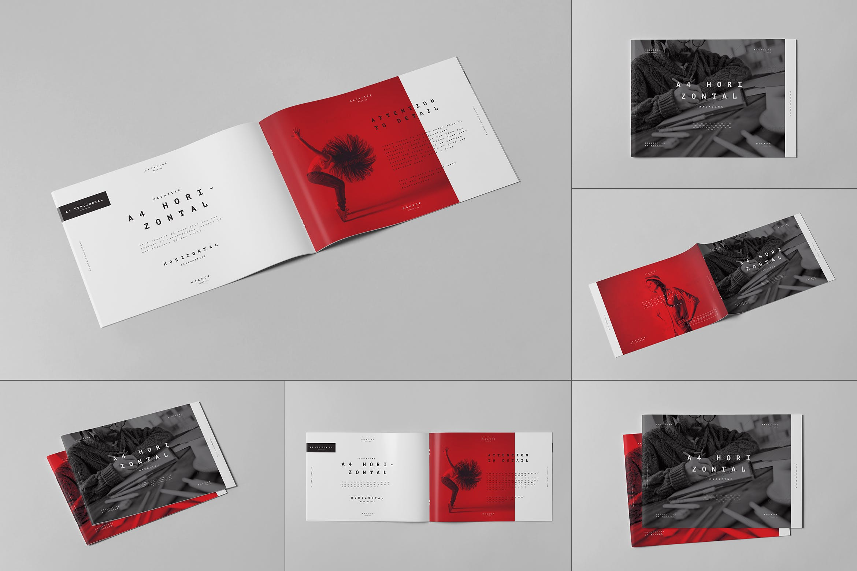10款横版A4画册杂志设计展示样机模板 A4 Horizontal Brochure Mockup 3插图