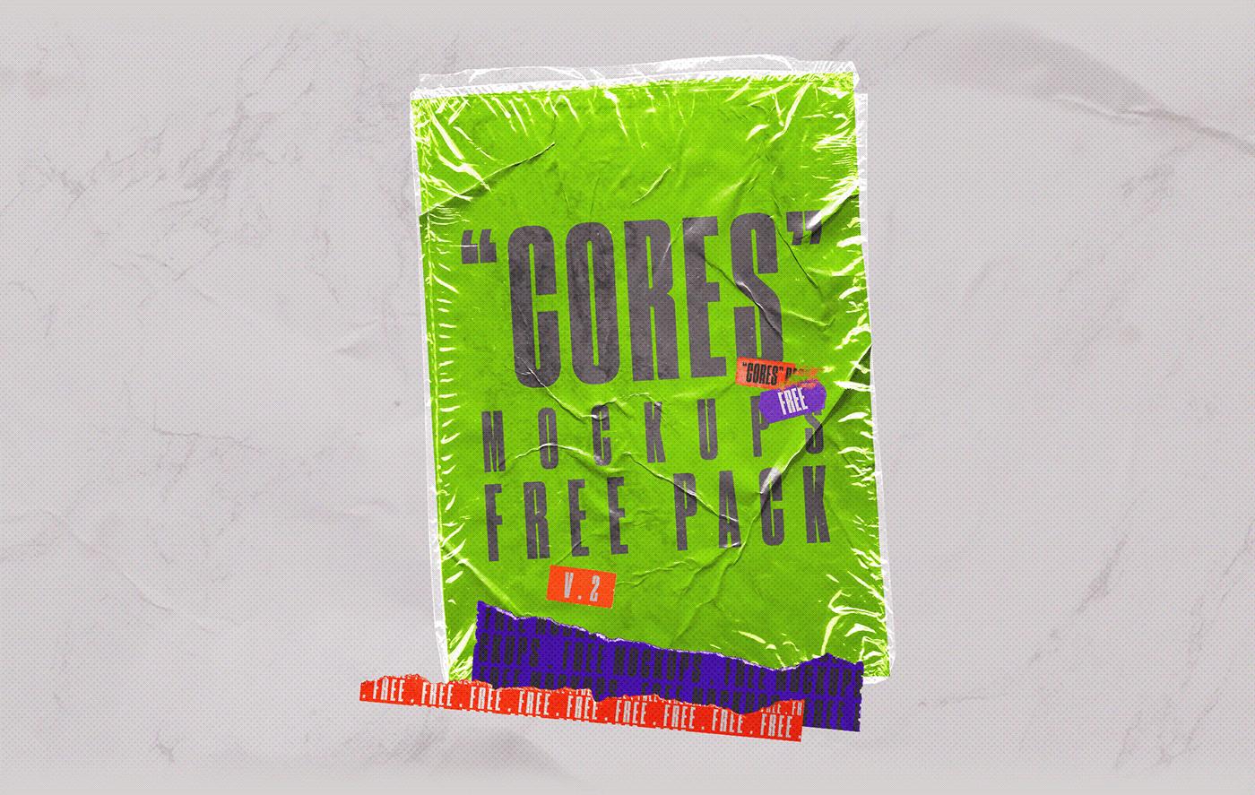 [淘宝购买] 4款潮流撕纸塑料袋叠层效果海报设计贴图PSD样机 CORES Mockups Pack插图