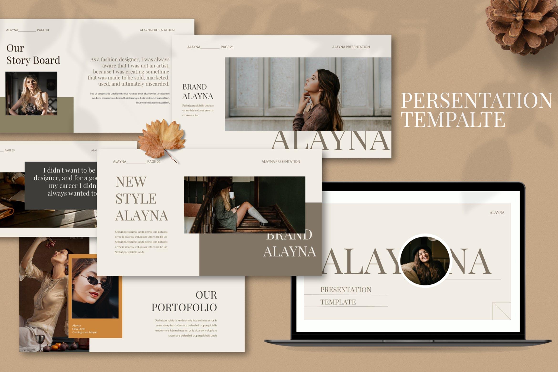 现代极简主义优雅轻奢品牌推广PPT演示文稿模板素材 Alayna – Powerpoint Template插图