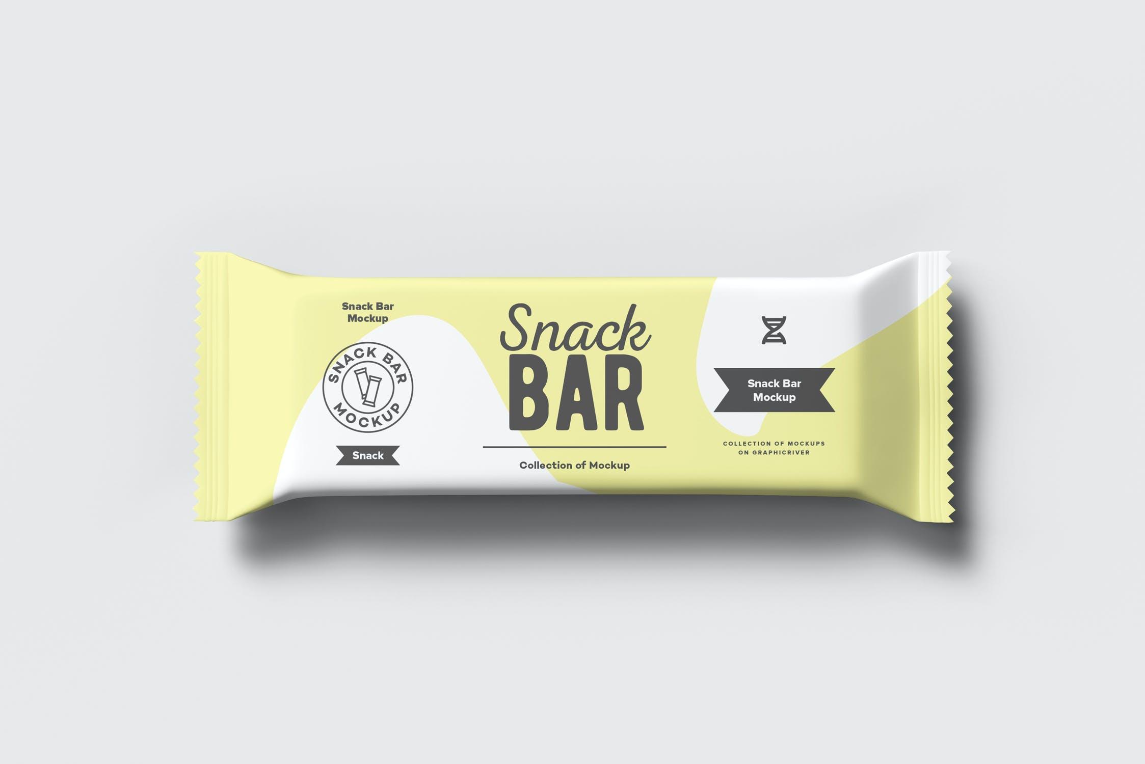 7款巧克力棒小零食塑料袋设计展示样机 Snack Bar Mockup插图