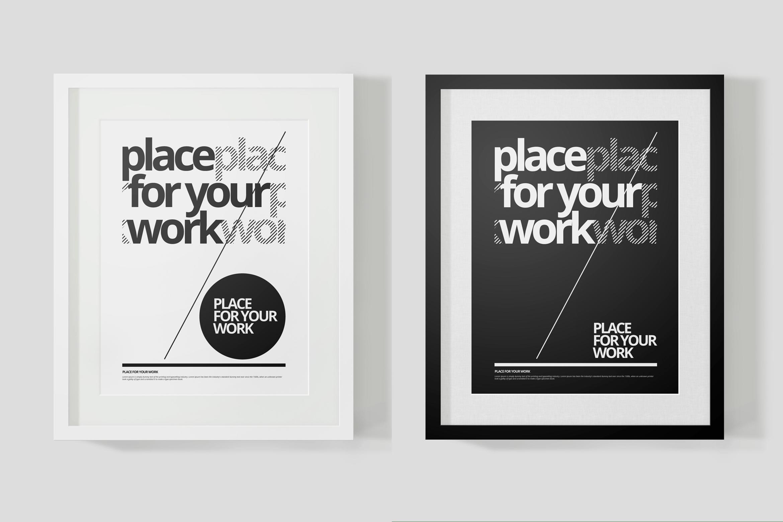 时尚绘画艺术品海报照片展示相框样机PSD模板 Frame For Your Work插图