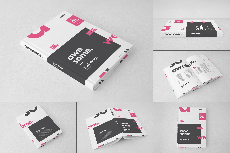 逼真精装书画册设计展示样机PSD模板素材 Book Mockup插图