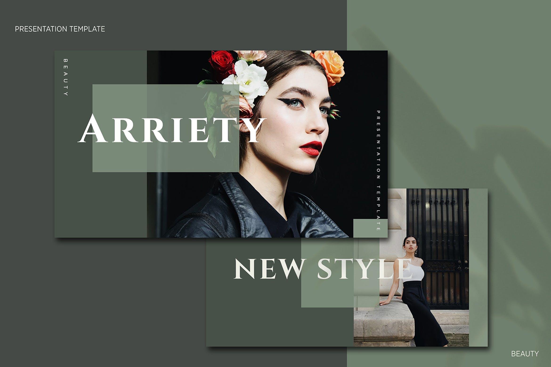 时尚优雅极简莫兰迪色时尚品牌推广PPT演示文稿模板 Arriety – PowerPoint Template插图