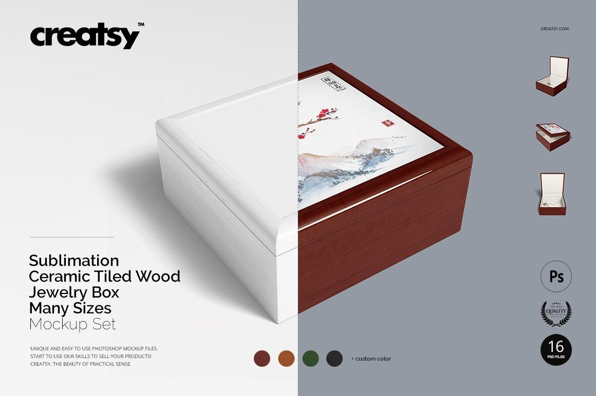 16个木质珠宝盒设计展示样机模板集 Tiled Wood Jewelry Box Mockup Set插图