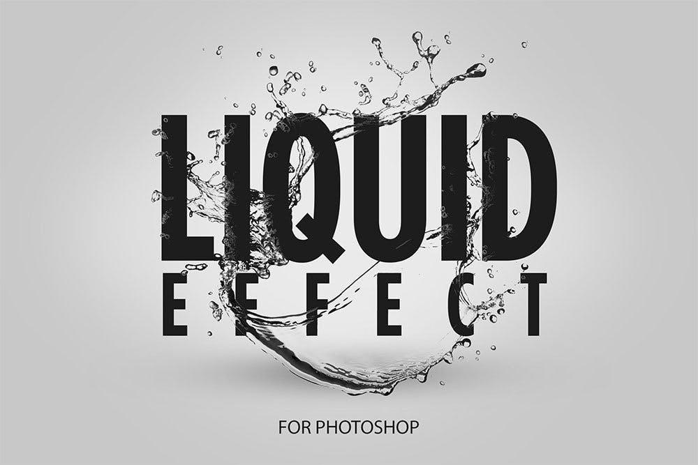 6款液体水溅效果文字设计PS样式模板 Liquid Overlay插图