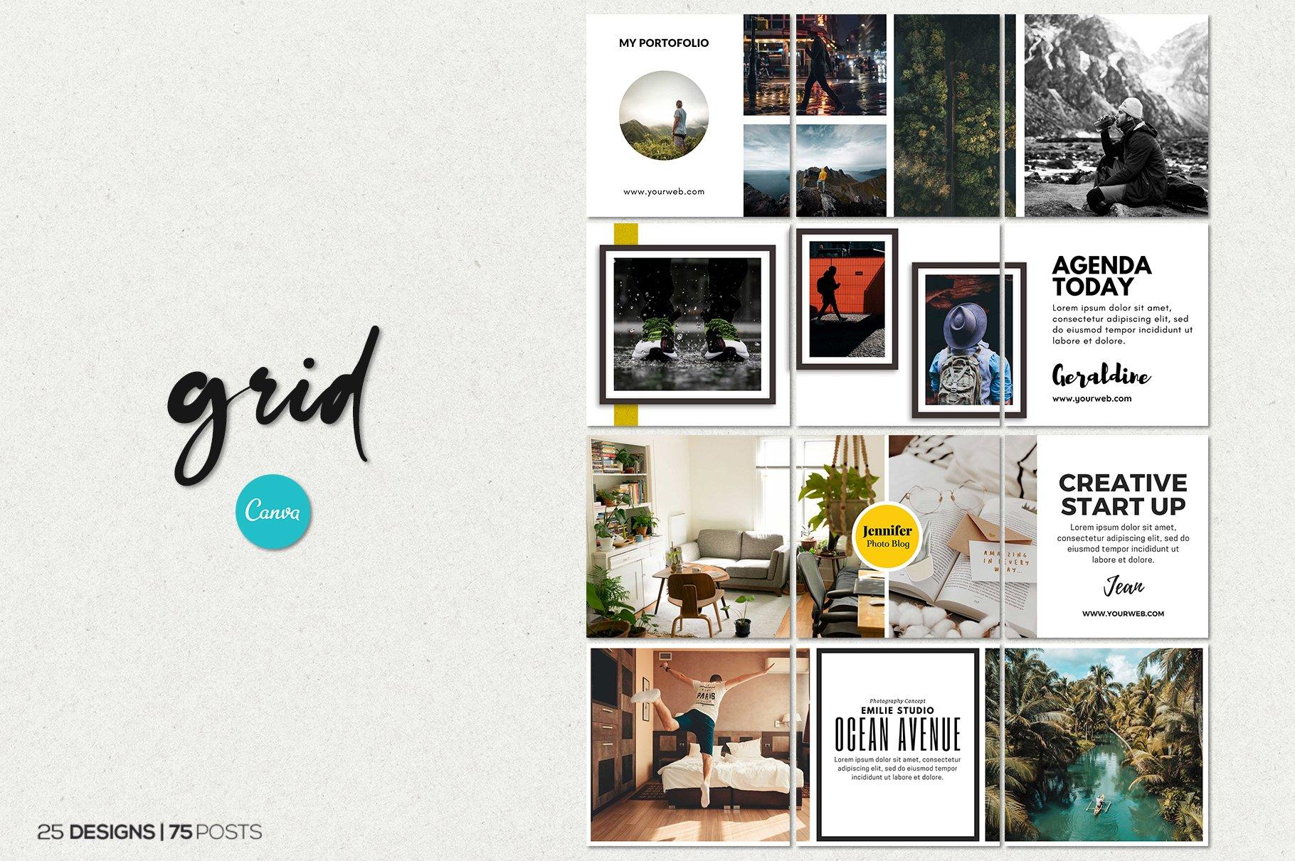 毛笔笔刷效果新媒体电商海报设计PSD模板 Agenda Insta Grid (Triple Posts)插图(8)