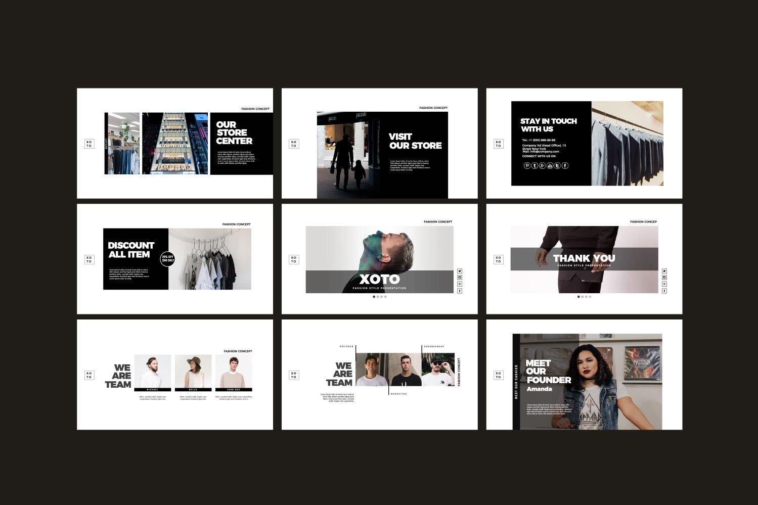 时尚简约服装设计作品集演示文稿模板 Xoto – Fashion Minimal Powerpoint插图(7)