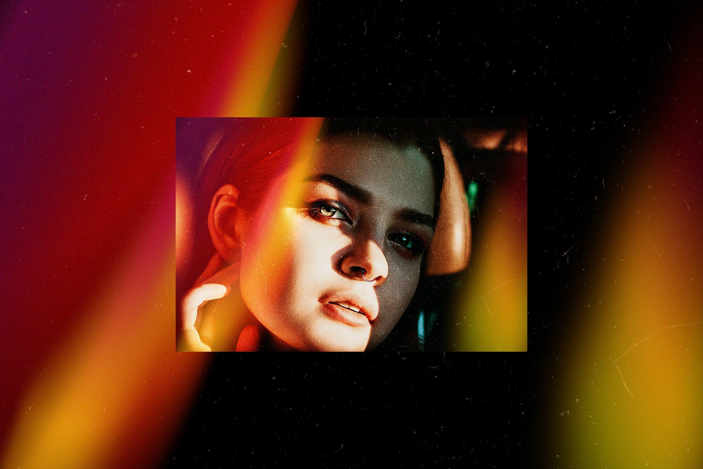 5款炫酷自然漏光图片叠层效果PS设计素材 Light Leak Photo Template插图(9)
